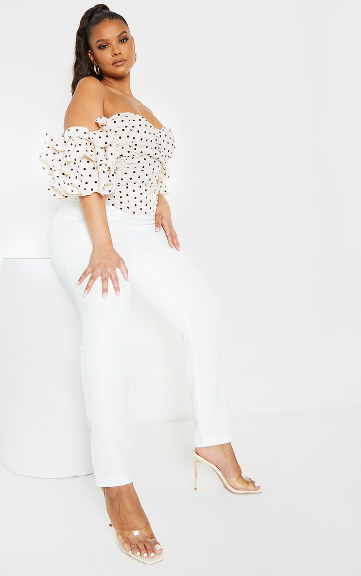 Plus Cream Polka Dot Ruffle Puff Sleeve Bardot Crop Top 3