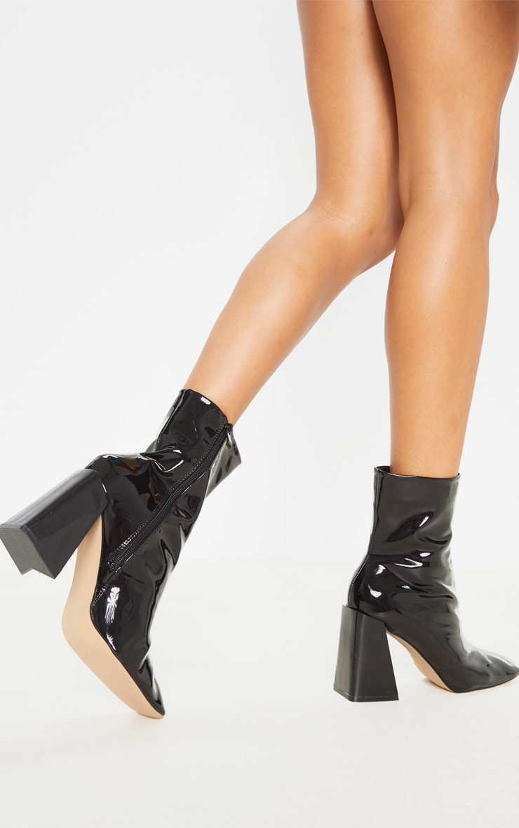 Black Square Toe Flared Block Heel Ankle Boot 2
