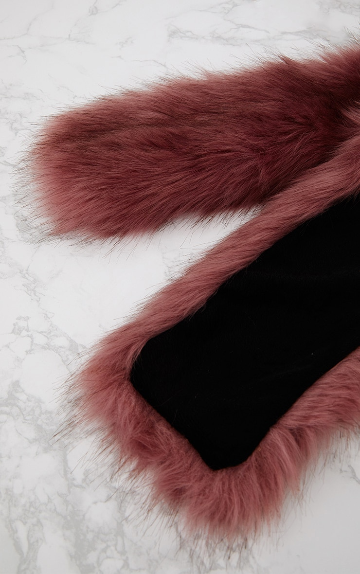 Pink Faux Fur Extra Long Scarf 5