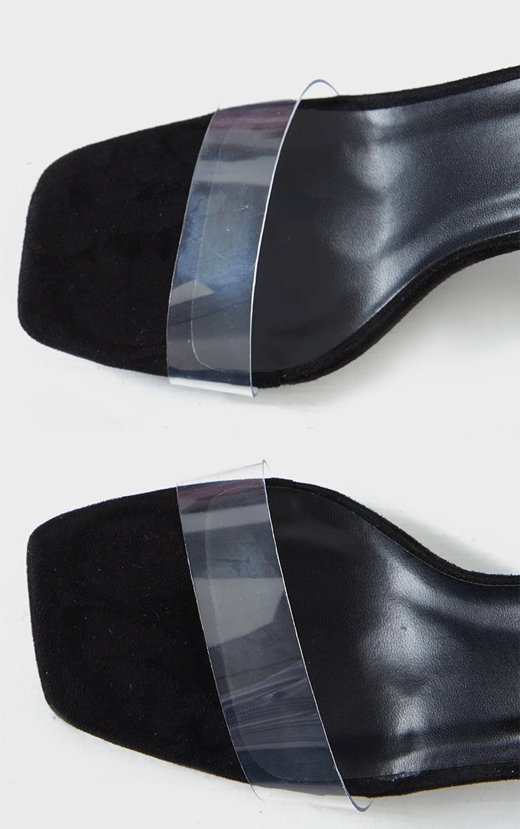 Black Wide Fit Clear Flared Block Heel Sandals 3
