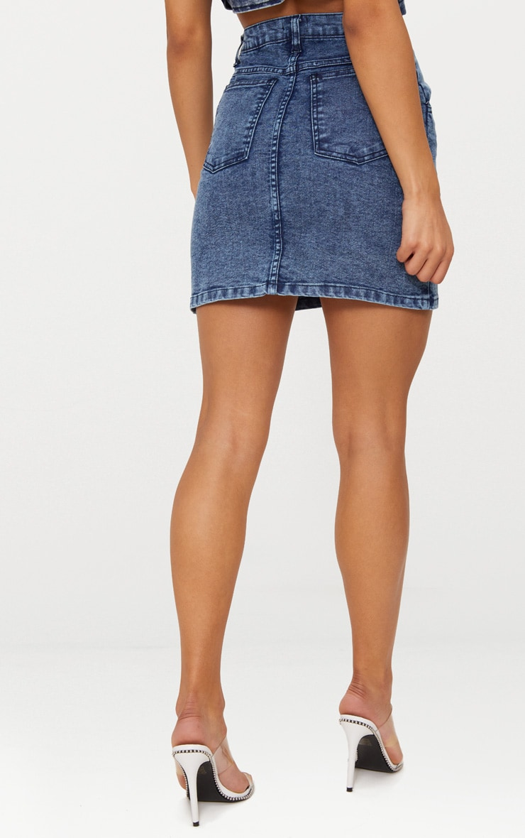 Blue Acid Wash Denim Mini Skirt 3