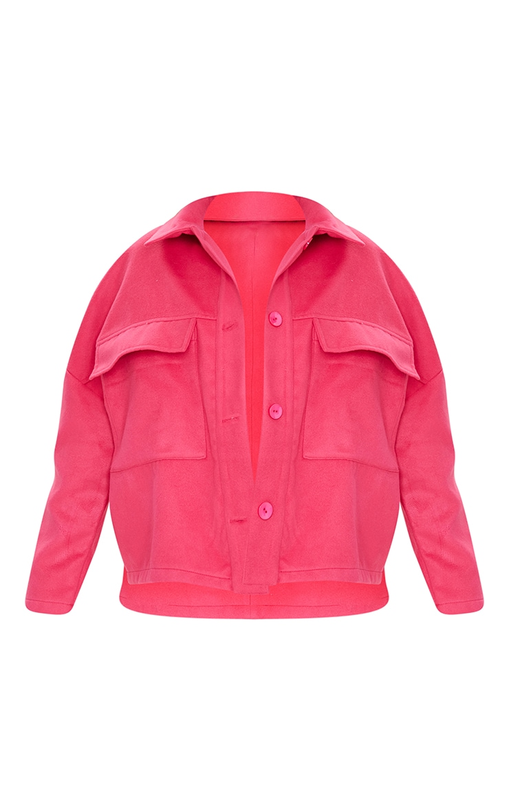 Petite Pink High Low Oversized Shacket 5
