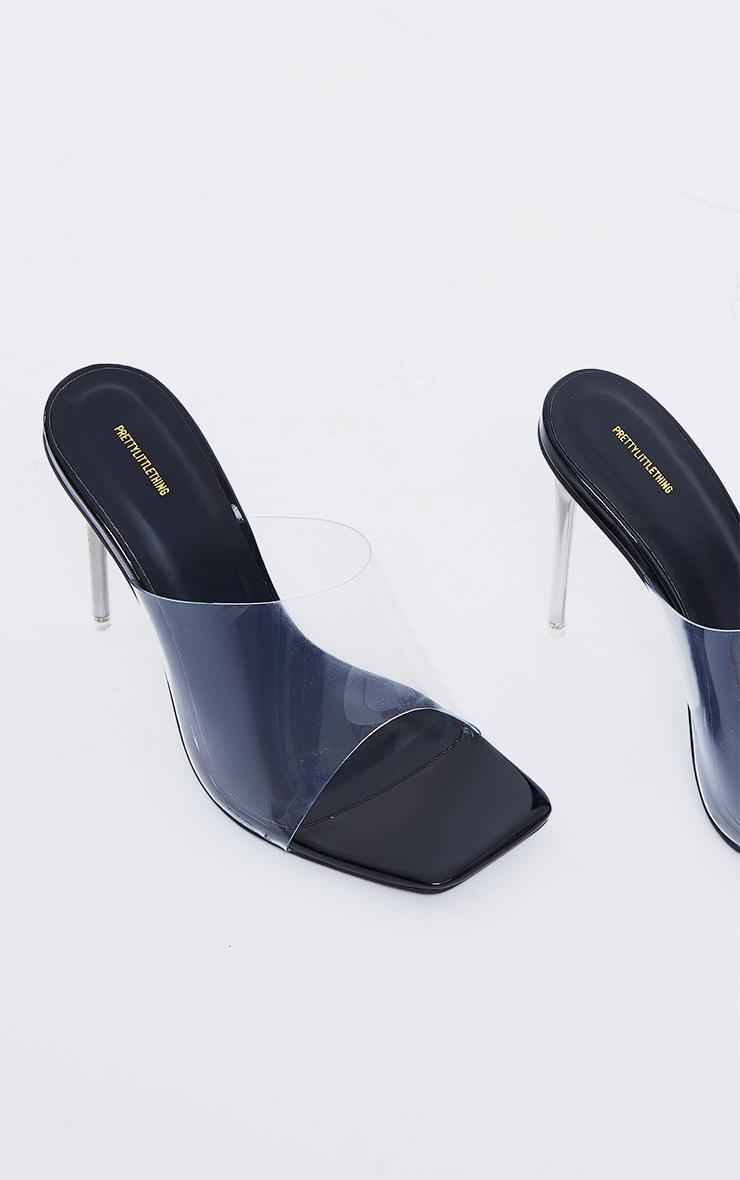 Black Clear Square Toe Pin Stiletto Heel Mules 4