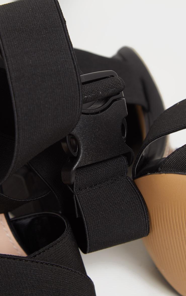 Black Elastic Buckle Detail Block Heel Sandal 4