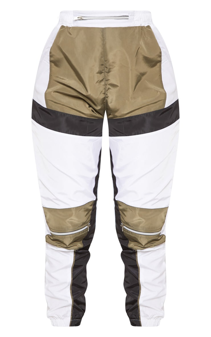 White Contrast Panel Zip Detail Shell Jogger 3