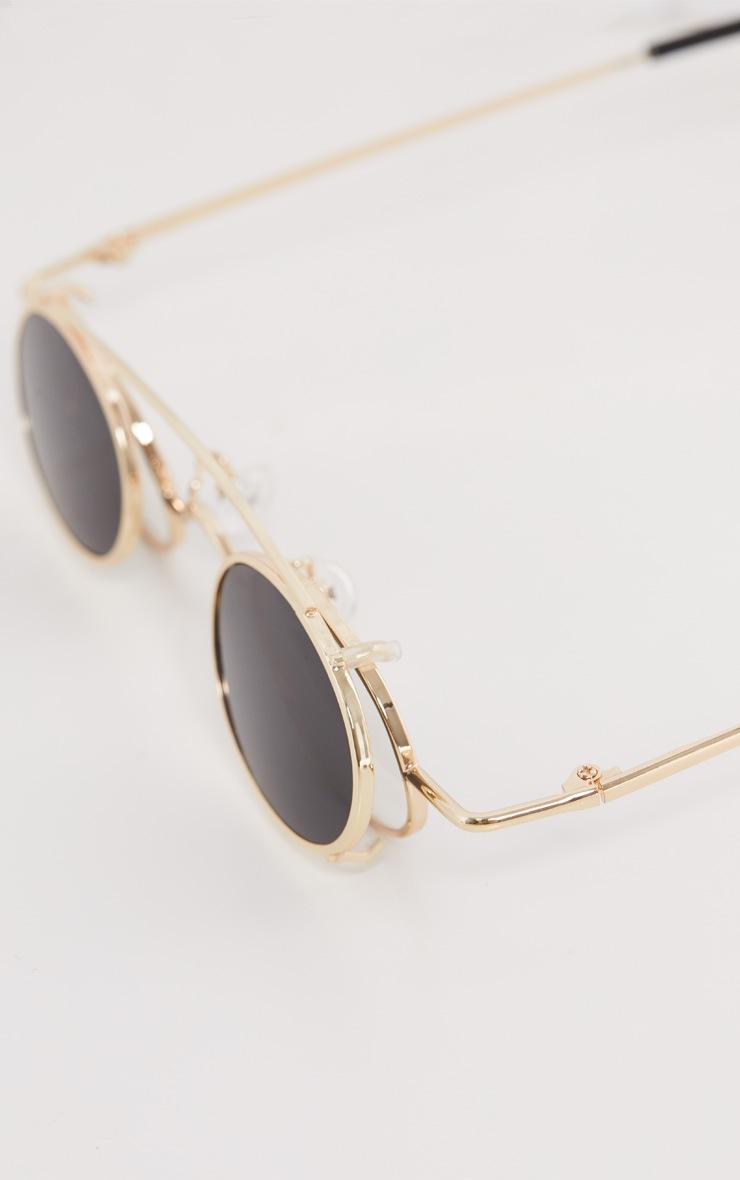 Gold Frame Black Lens Small Oval Flip Sunglasses 6