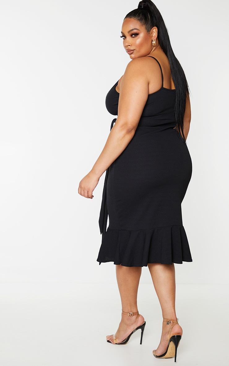 Plus Black Strappy Tie Waist Fishtail Midi Dress 2