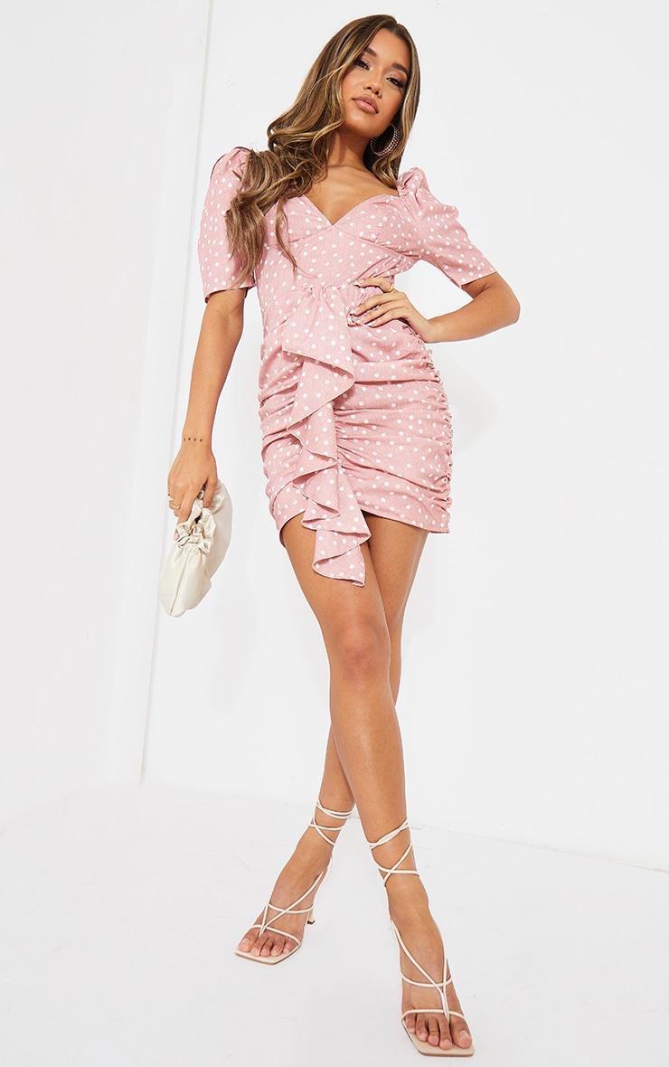 Pink Polka Dot Drape Detail Ruched Bodycon Dress 1