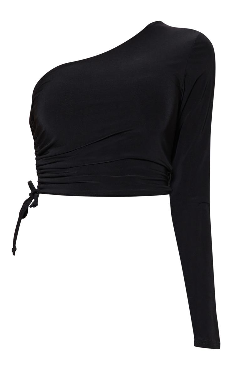 Black Slinky One Shoulder Ruched Crop Top 3
