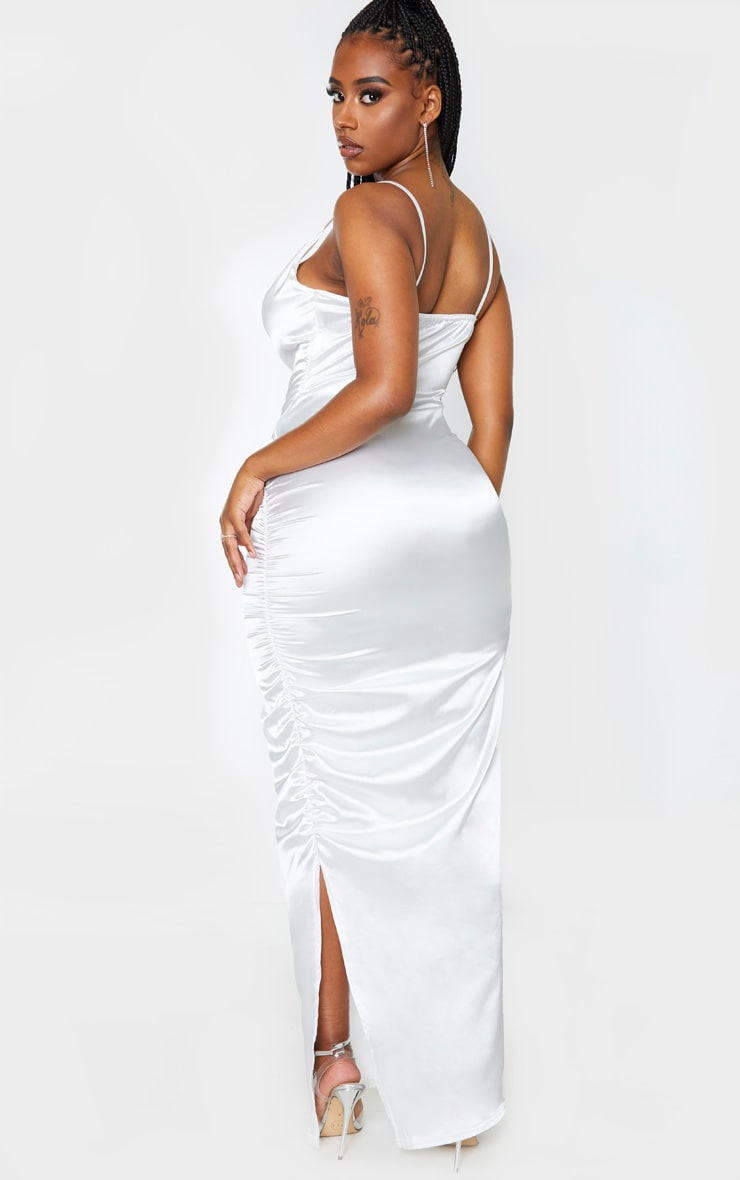 Shape Cream Satin Ruched Side Maxi Dress 2