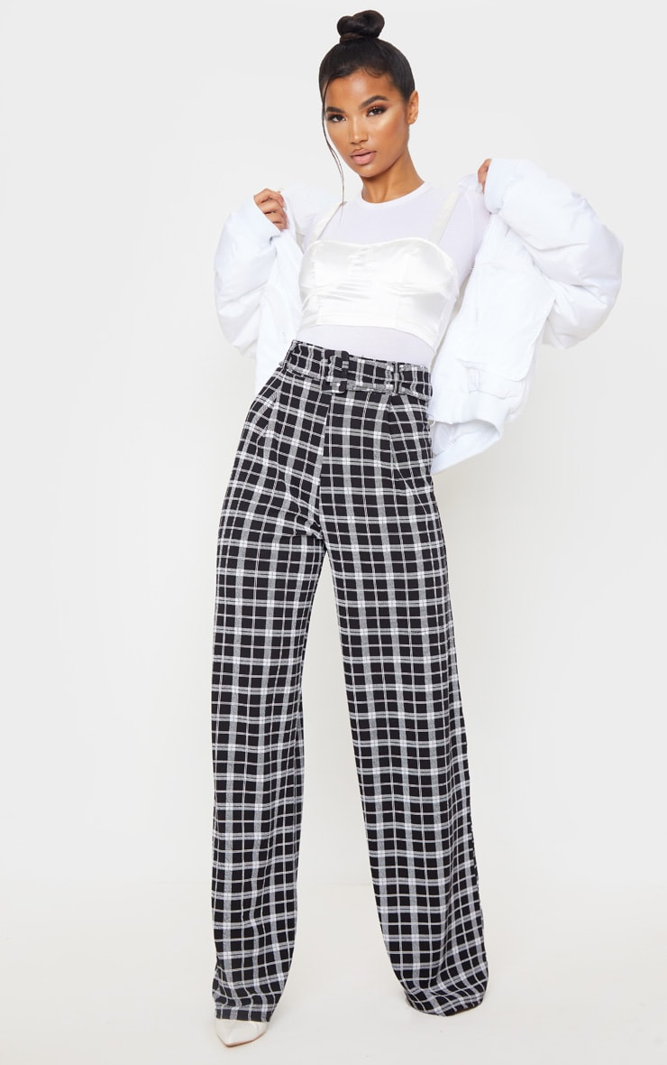 Monochrome Check Belted Wide Leg Trouser 1