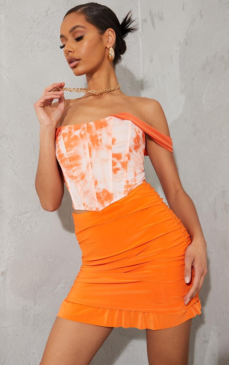 Orange Tie Dye Chiffon Strap Detail Dip Hem Corset 1