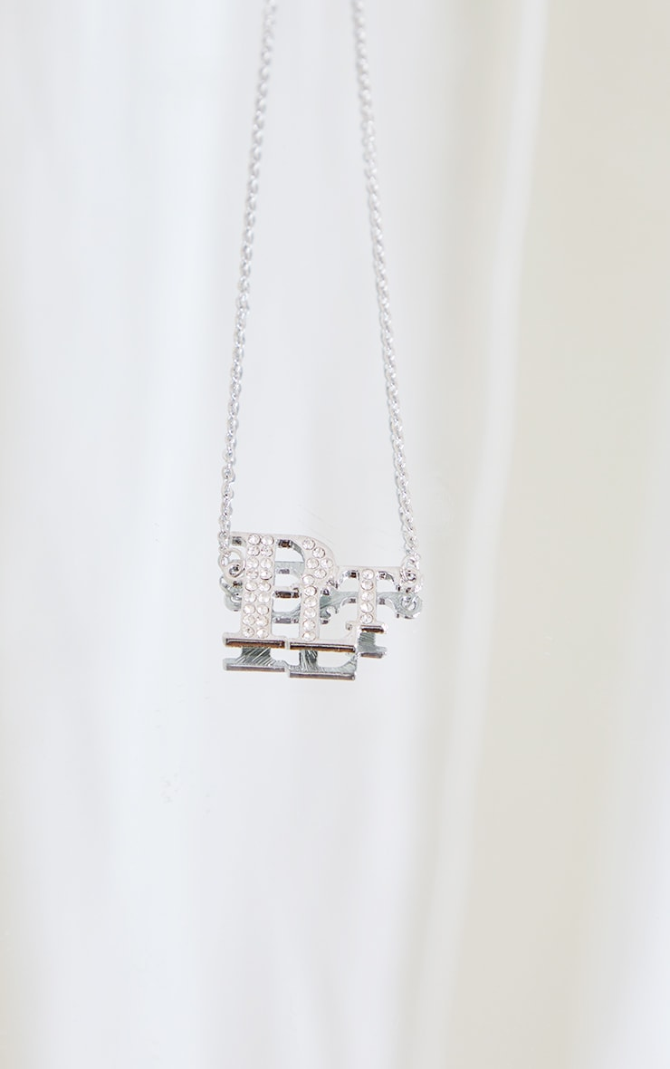PRETTYLITTLETHING Silver Diamante Necklace 4