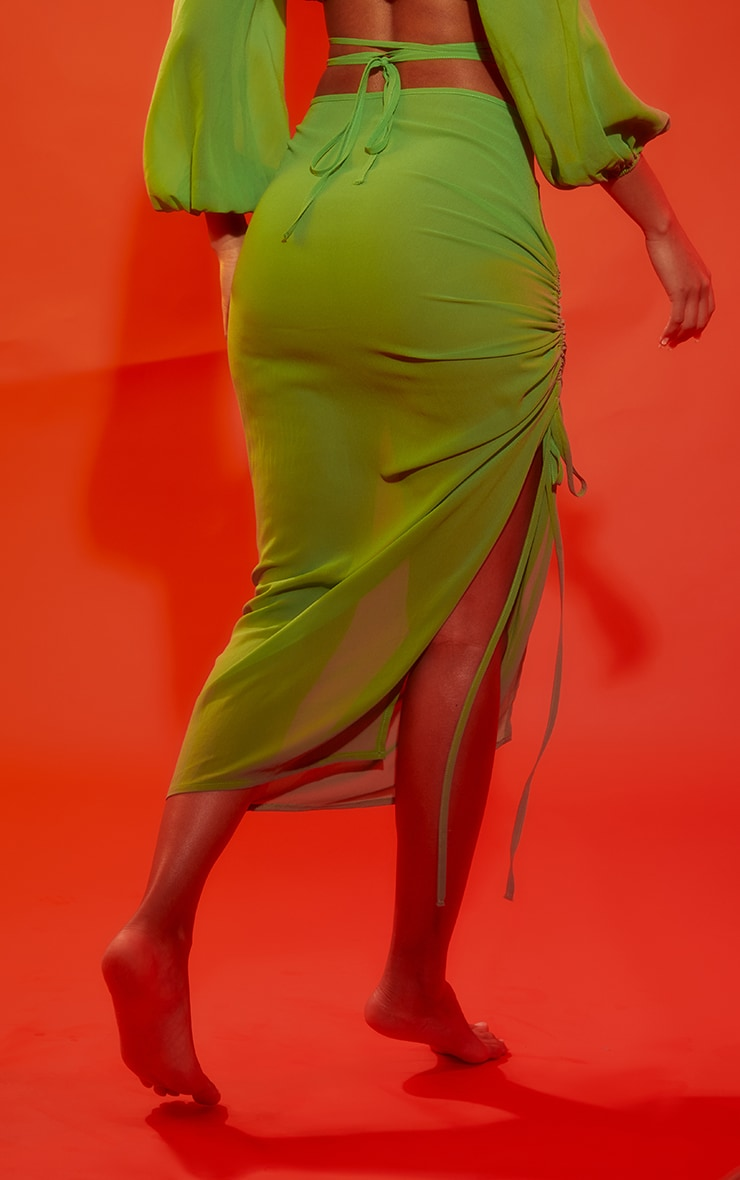 Apple Green Cut Out Ruched Side Beach Skirt 3