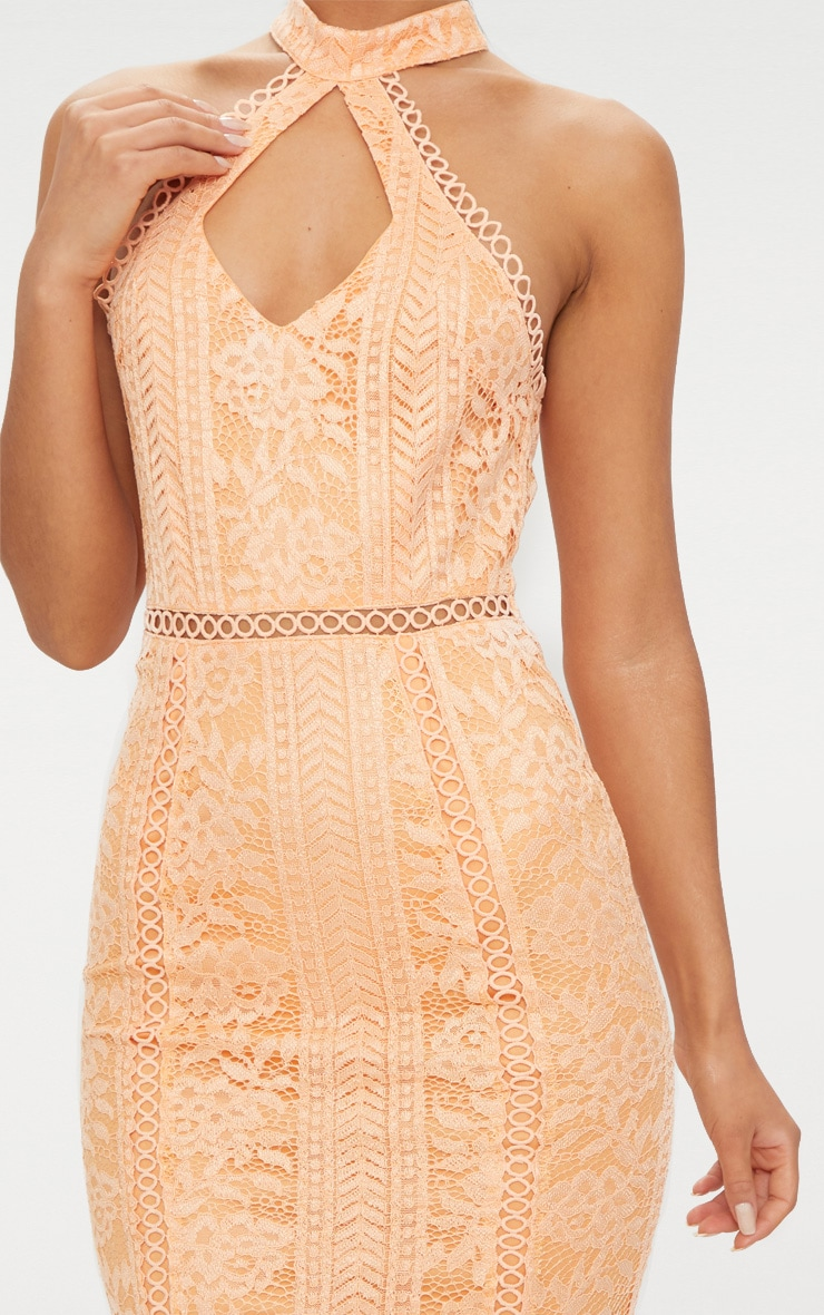 Tangerine Lace Cut Out Frill Detail Midi Dress  5