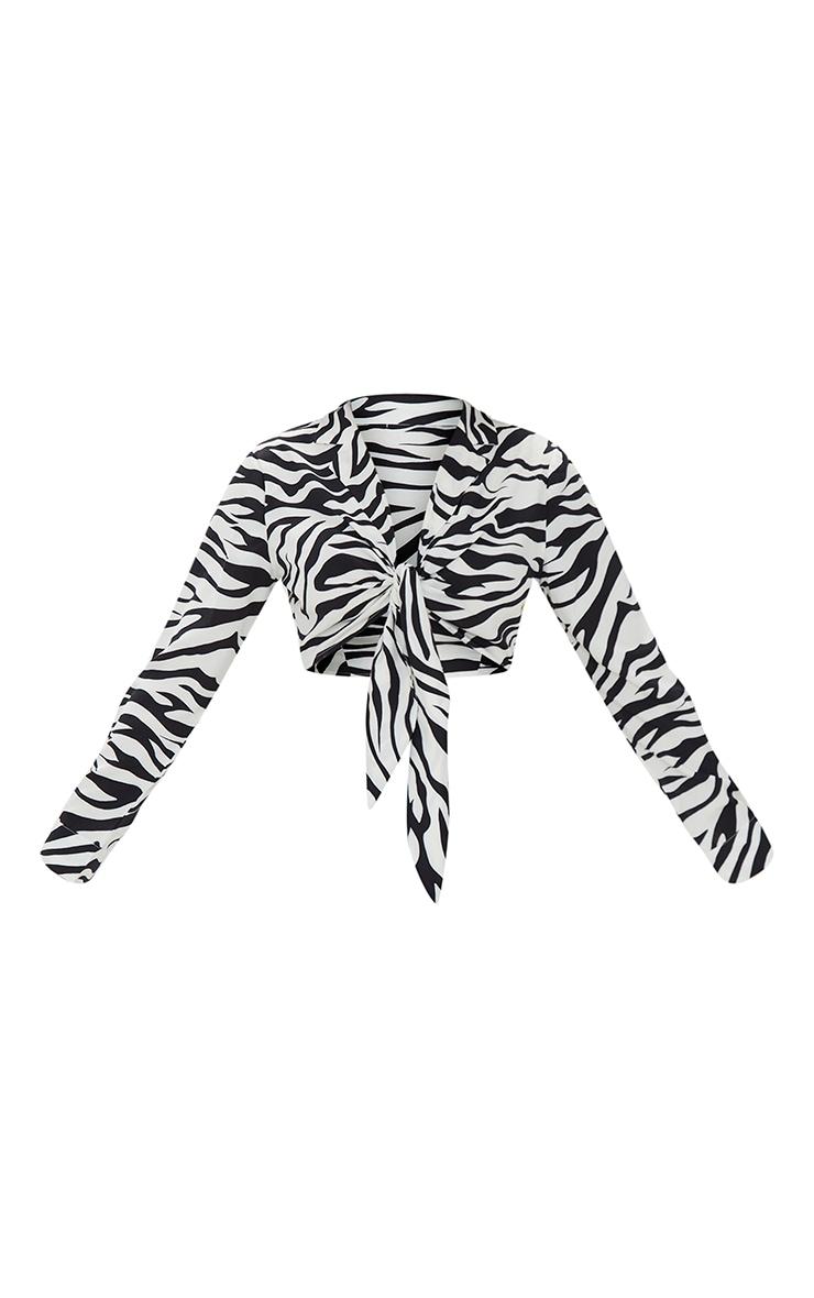 Zebra Print Sheer Tie Front Crop Shirt 6