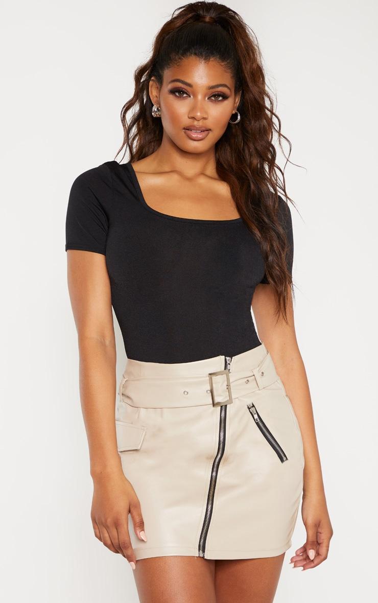 Tall Stone Belt Detail PU Mini Skirt 1