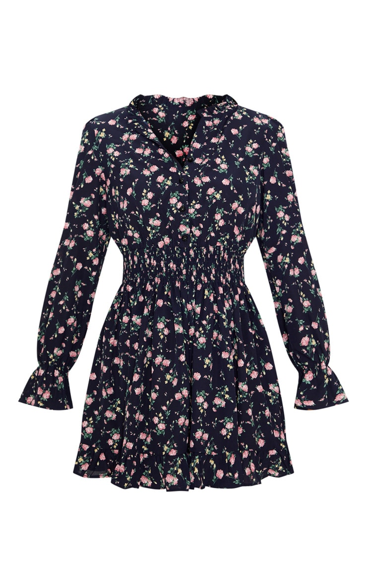 Navy Ditsy Floral Shirred Waist Shirt Dress 3