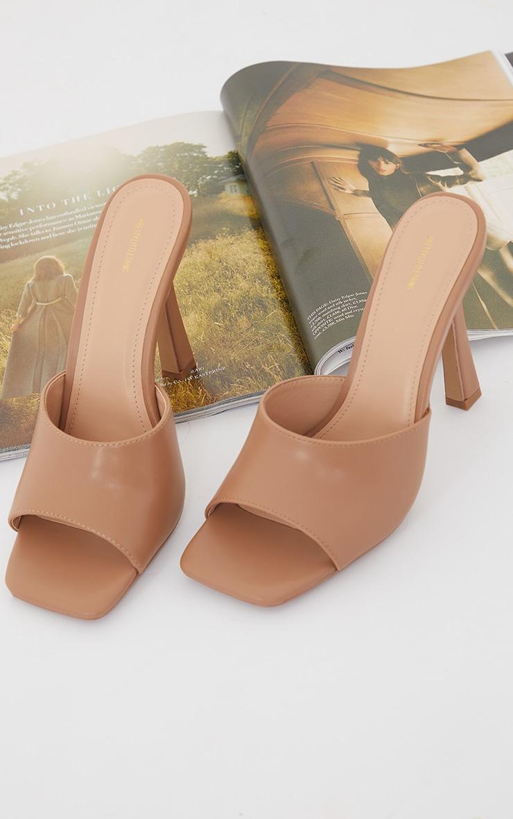 Camel Wide Fit Square Toe Mule High Heels 4