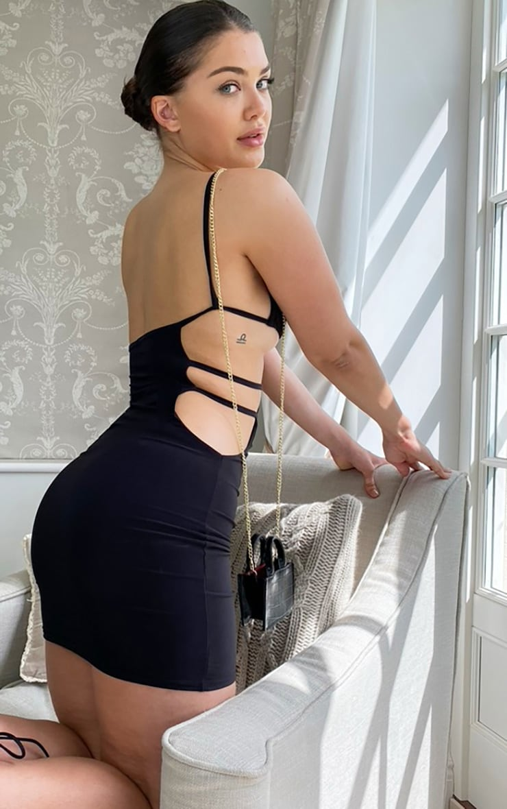Black Cut Out Slinky Bodycon Dress 2