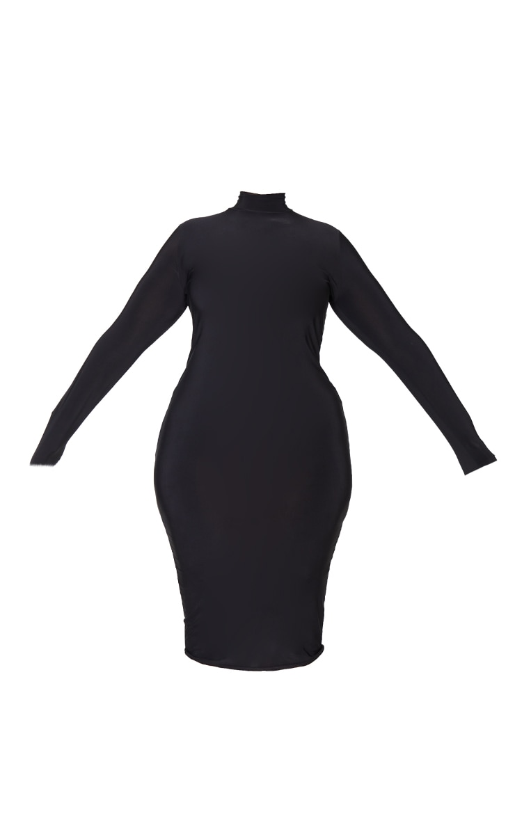 Plus Black Open Back Ring Detail Long Sleeve Midi Dress 5