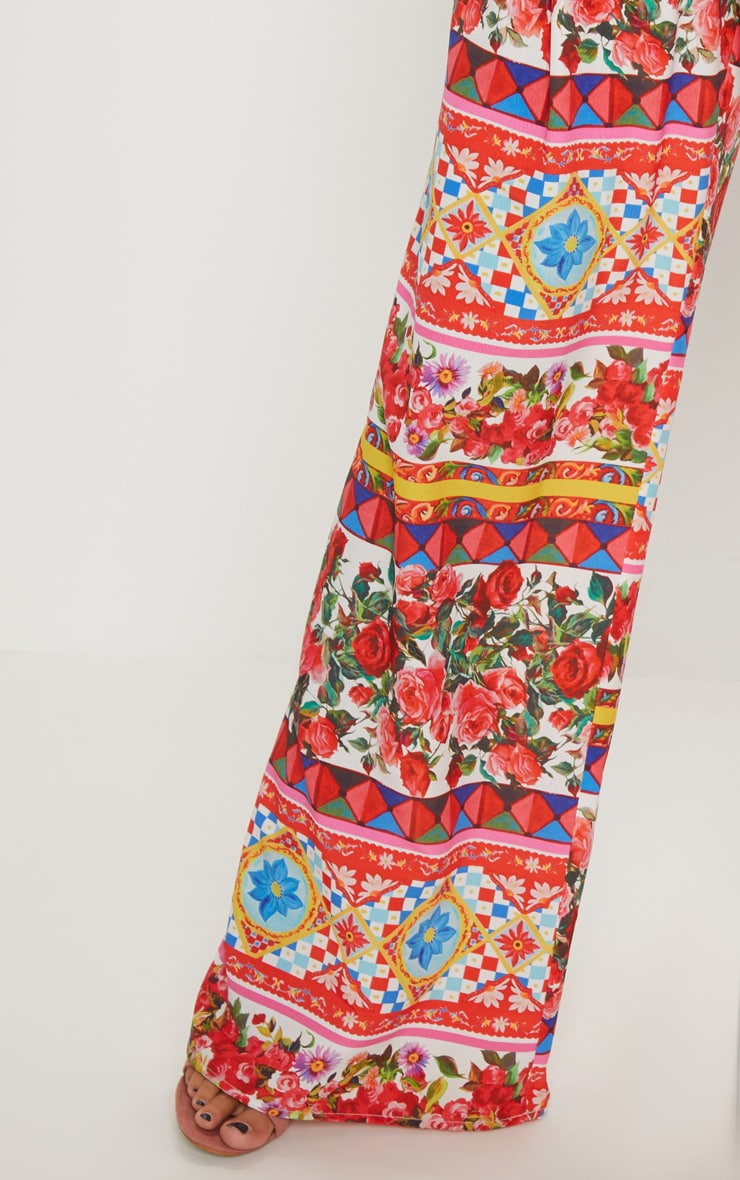 White Floral Print Wide Leg Trouser 5