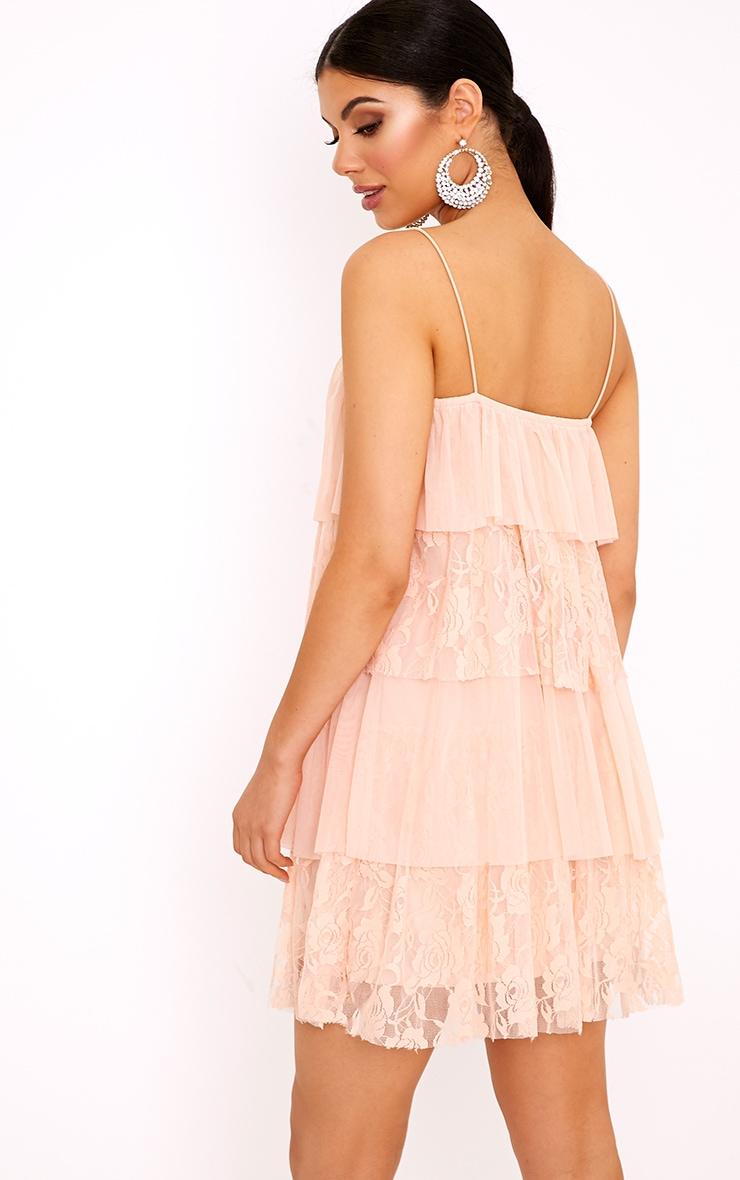 Sarsha Nude Chiffon Lace Frill Shift Dress  2