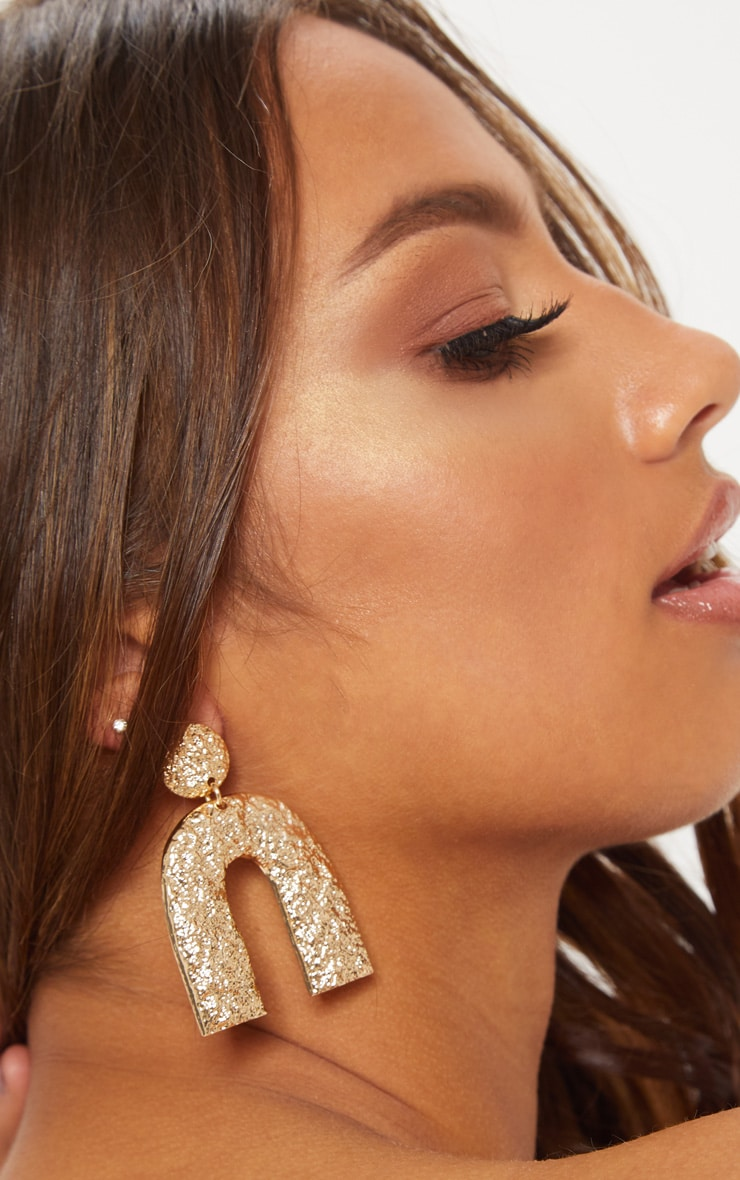 Gold Speckled U Shaped Statement Earrings