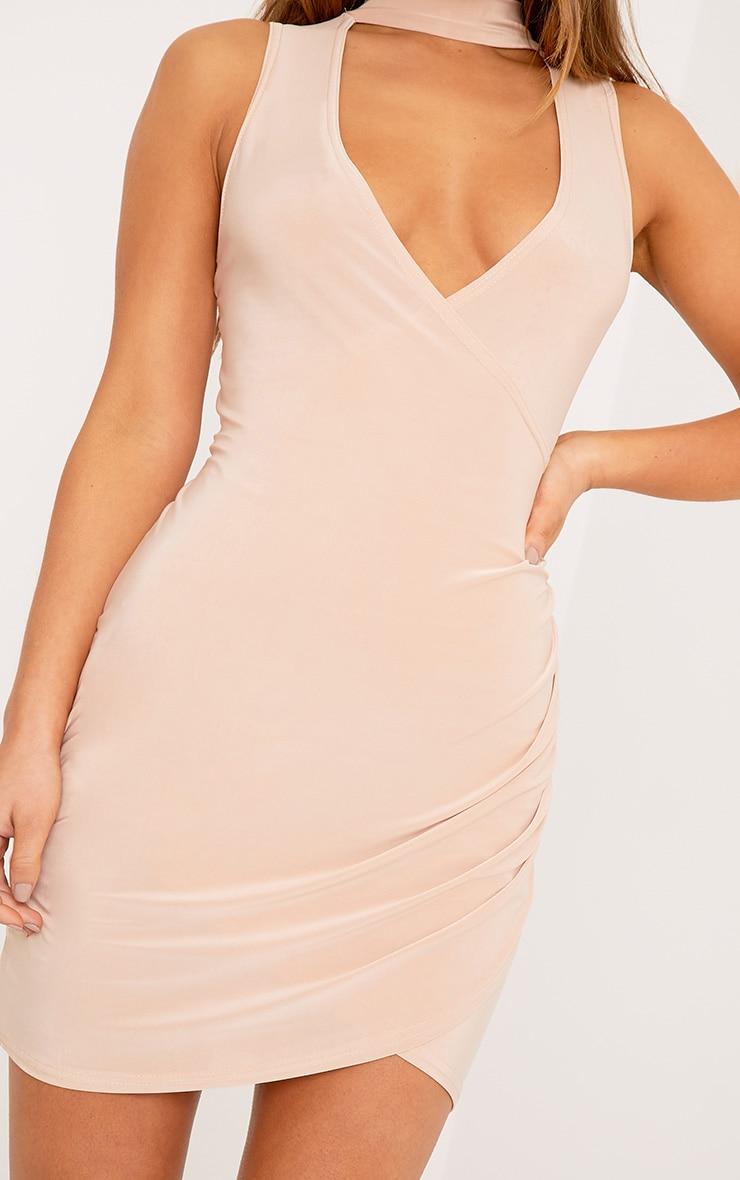 Petite Larinda Nude Choker Ruched Bodycon Dress 5