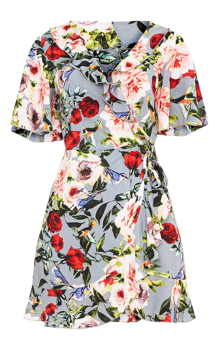 Ammie Grey Floral Wrap Front Tea Dress 3