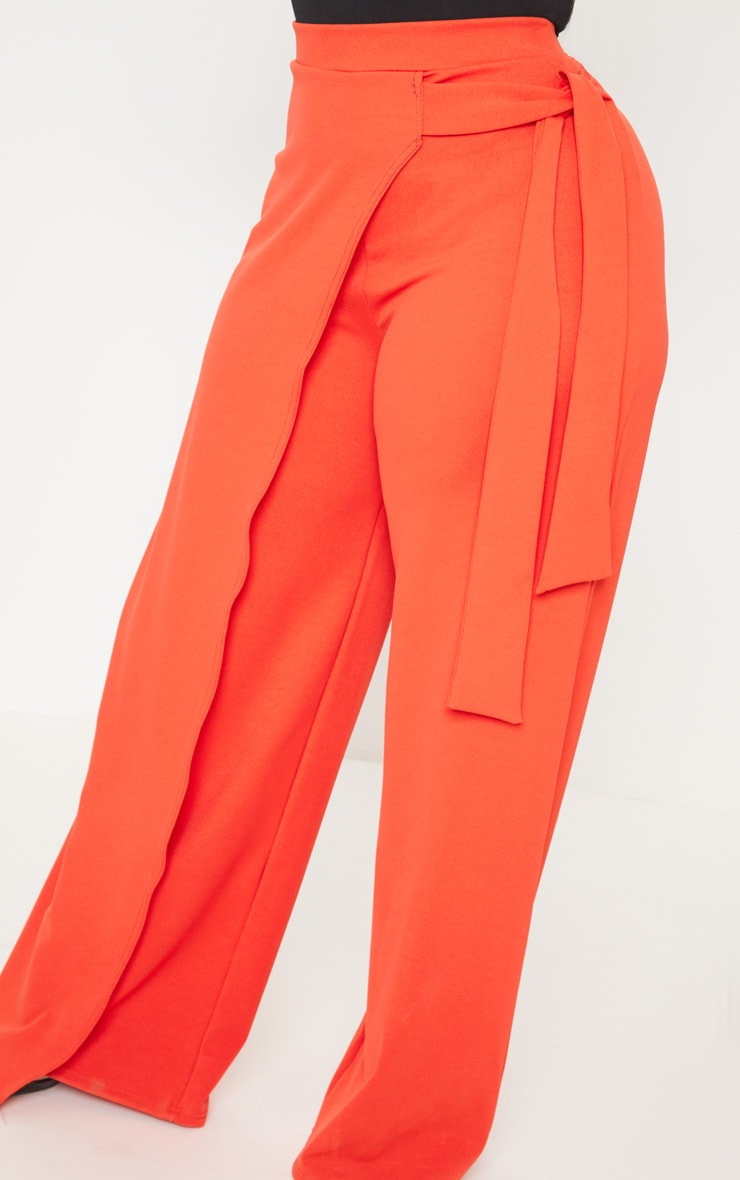 Plus Red Wrap Detail Extreme Wide Leg Trousers 5