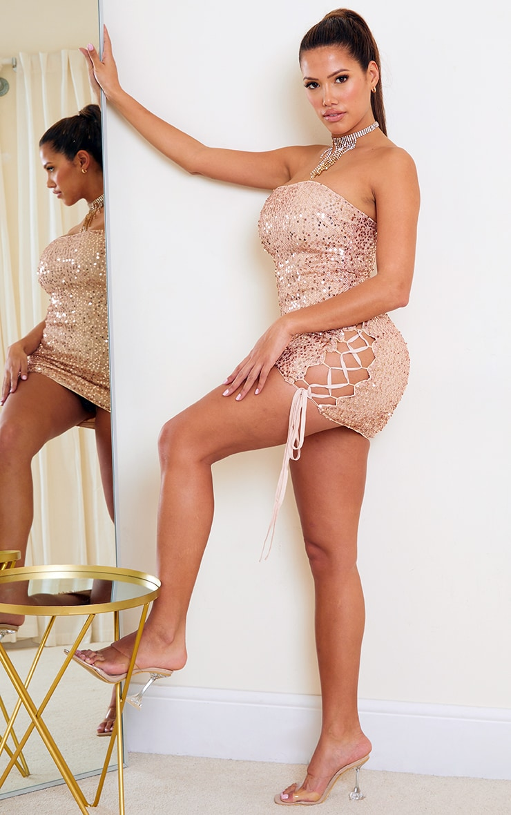 Shape Gold Sequin Lace Up Detail Bandeau Bodycon Dress 3