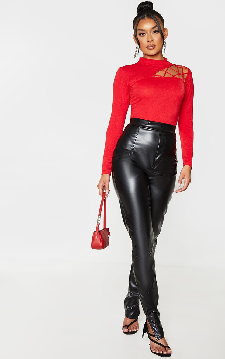 Red Cut Out Detail Crepe Bodysuit 4