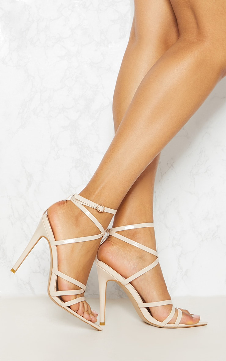 Nude Patent Strappy Point Toe Heels