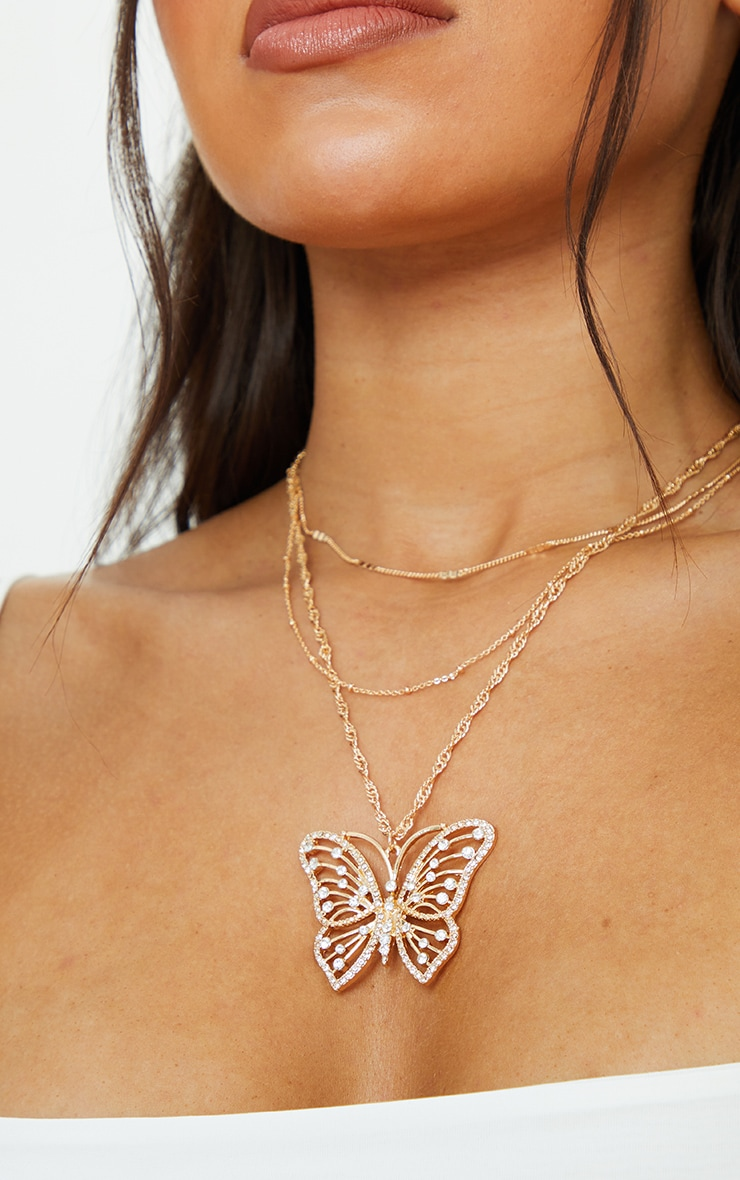 Gold Multi Chain Oversized Butterfly Necklace 2