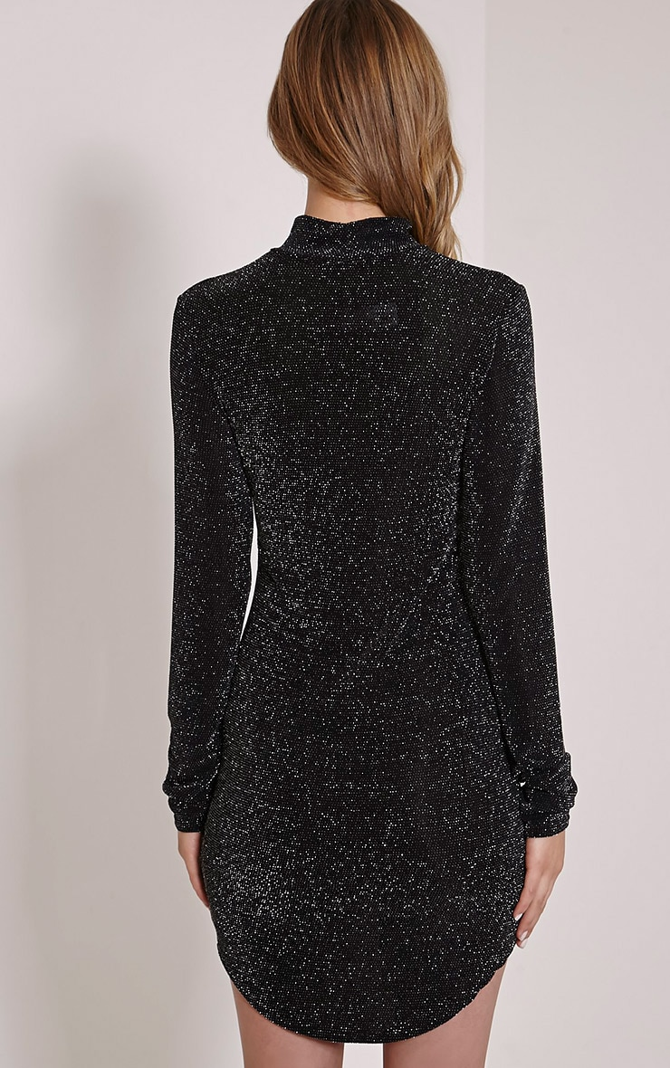 Alby Black Lurex Curve Hem High Neck Dress 2