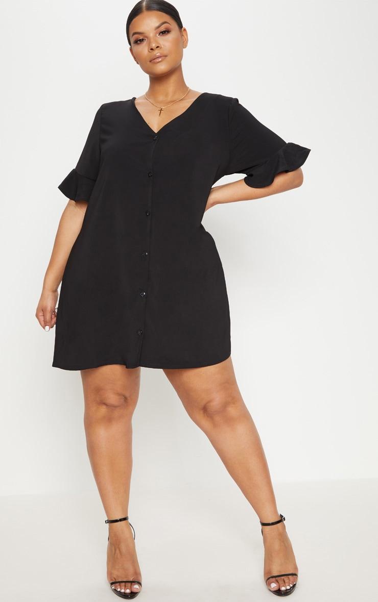Plus Black Button Through Frill Sleeve Dress 4