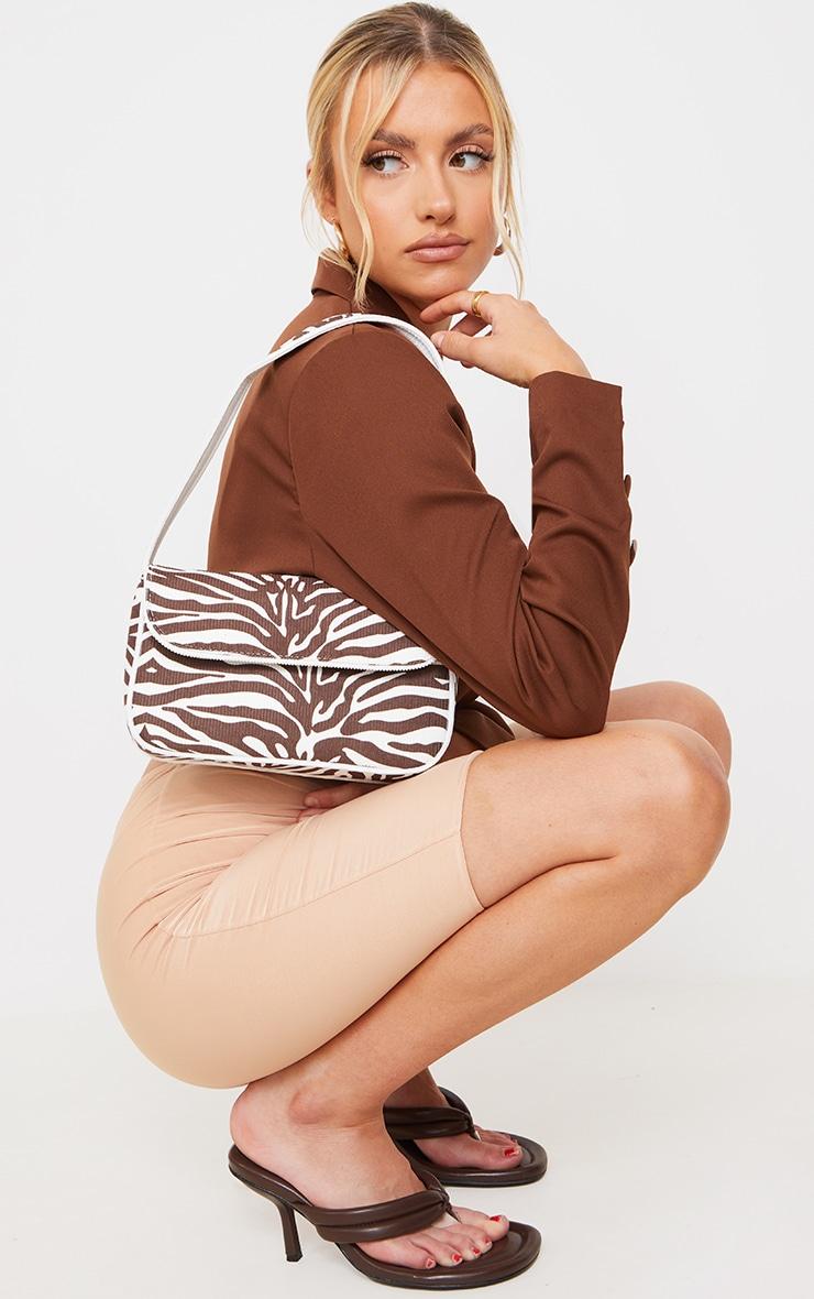 Chocolate Cord Zebra Shoulder Bag 1