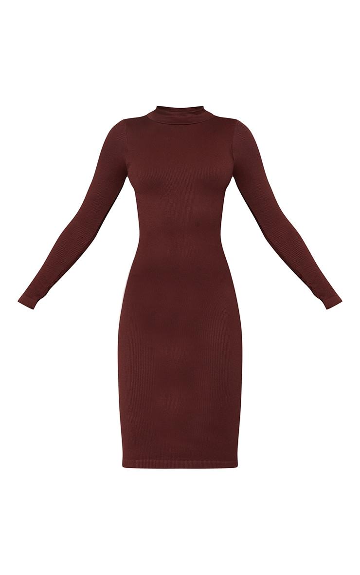 Chocolate Structured Contour High Neck Midi Dress 5