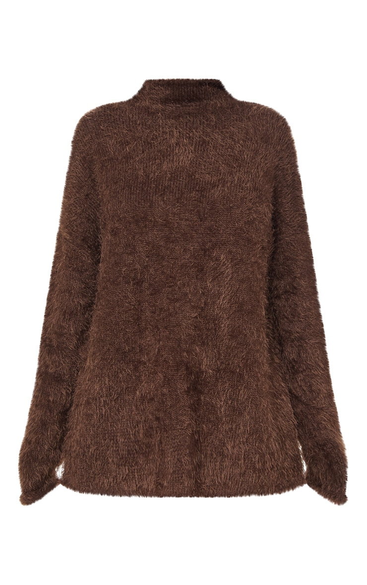 Brown Oversized Eyelash Sweater 3