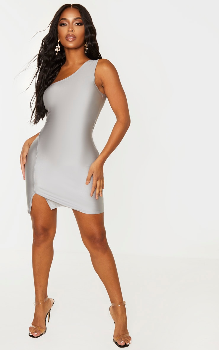 Shape Silver Disco One Shoulder Bodycon Dress 4