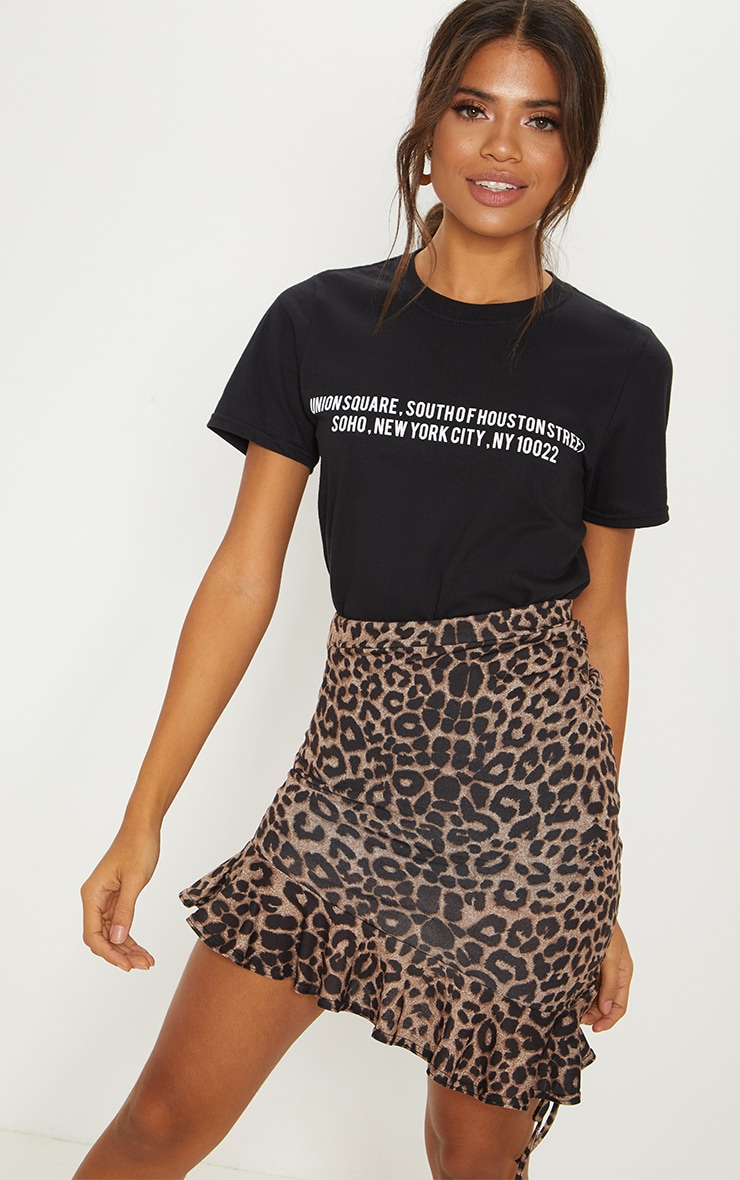True Leopard Printed Ruched Detail Mini Skirt 1