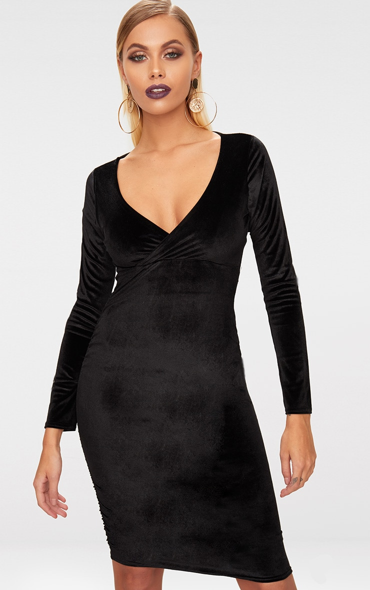 Black Velvet Long Sleeve Plunge Midi Dress  1