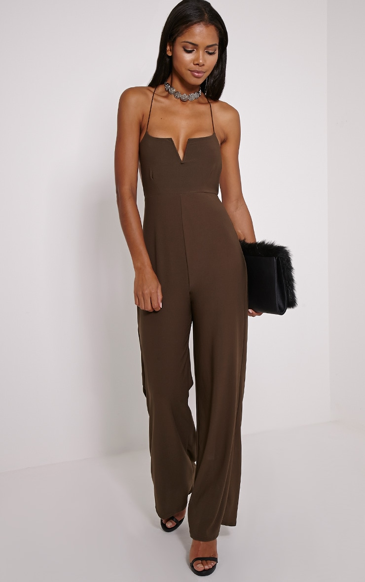 Delara Khaki Cross Back Jumpsuit 4