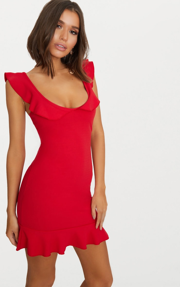 Red Frill Detail Bodycon Dress 1