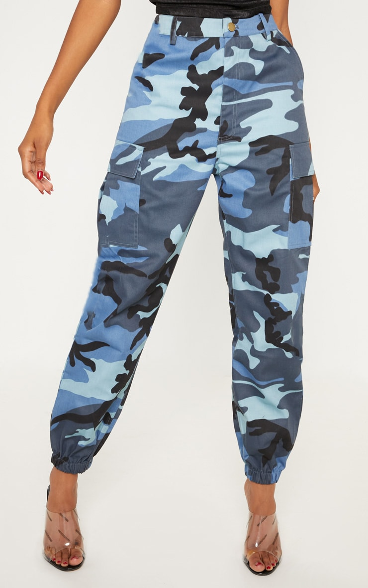 Blue Camo Pocket Detail Cargo Trousers 2