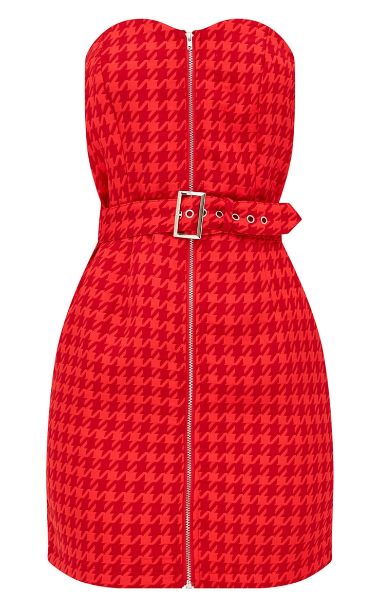 Red Houndstooth Buckle Detail Bandeau Bodycon Dress  3