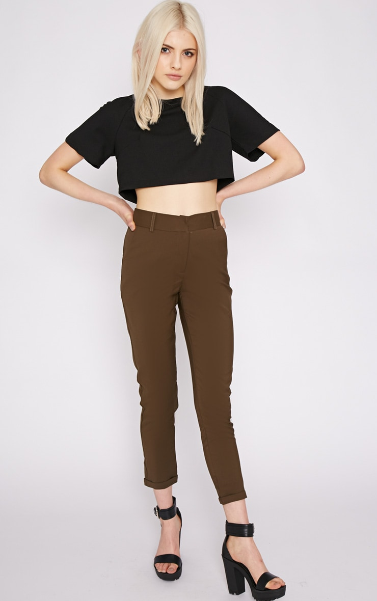 Christen Khaki Cigarette Trouser  3