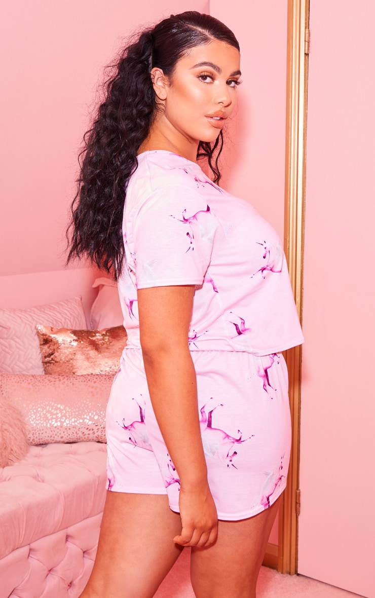PRETTYLITTLETHING Unicorn Plus Pink Print Short PJ Set 2