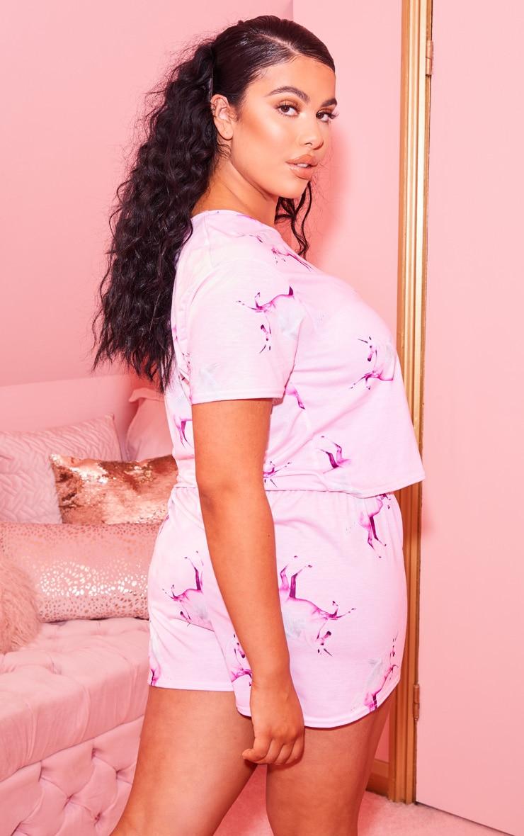 PRETTYLITTLETHING Unicorn Plus Pink Print Short PJ Set 2